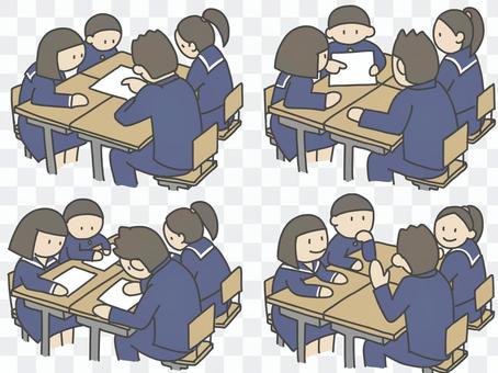 Students studying in groups