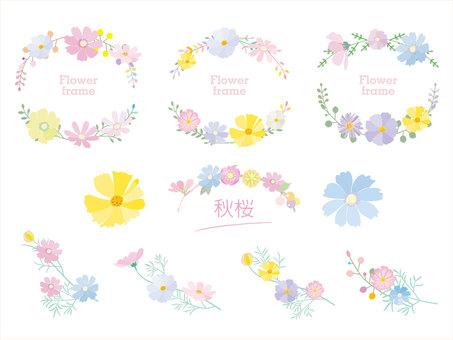 Autumn frame_Autumn cherry blossom decoration frame Pastel style 3