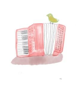 手風琴和鳥的插圖
