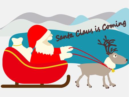 聖誕老人和馴鹿乘坐雪橇前往城市