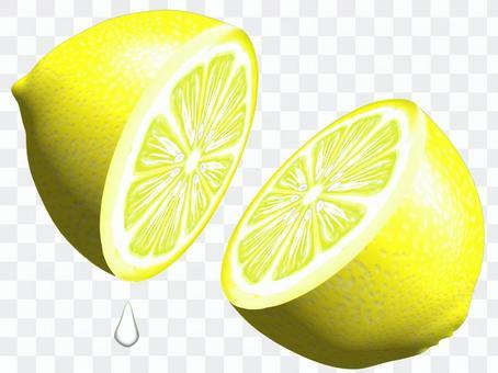 檸檬切成兩半