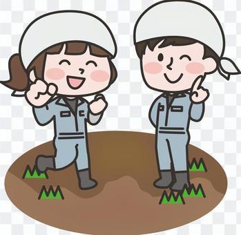 兩位負責人_從事農業工作的男人和女人
