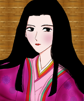 Heian period aristocratic woman (with background)