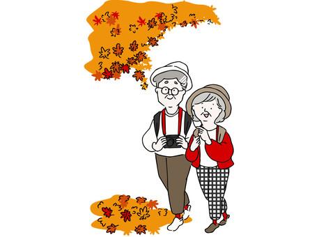 享受秋葉狩獵的夫婦