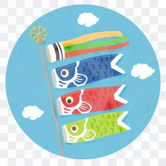 pop魚流光和藍藍的天空的插圖