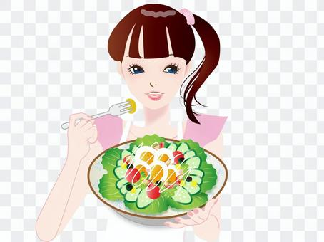 女性55-1サラダを食べる女性‐p