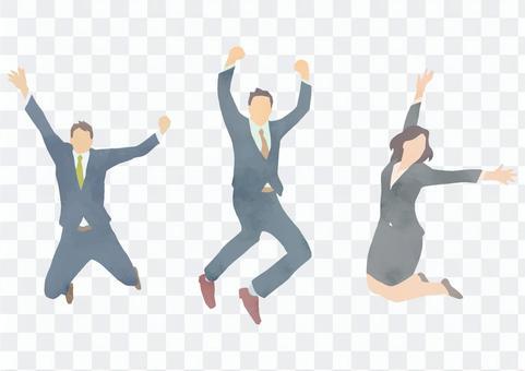 穿著西裝的男人和女人高興地跳