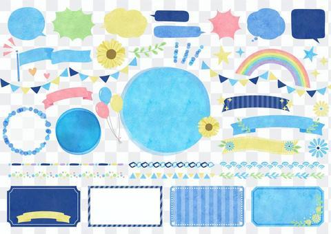 季節性材料102夏季水彩畫框架