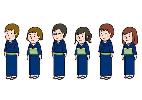 Men's and women's set in kimono