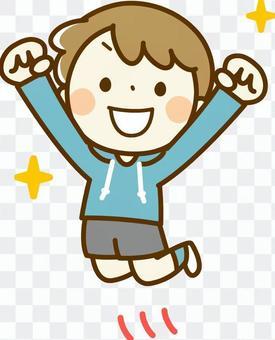 一个快乐跳跃的男孩