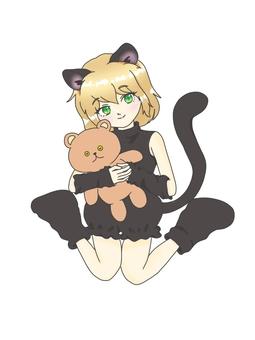 扮演黑貓的綠眼睛女孩