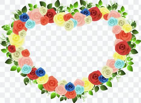 玫瑰多彩的心框架
