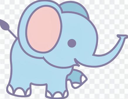 動物插圖大象藍色