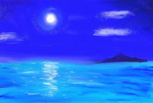 夜の海 ハガキ