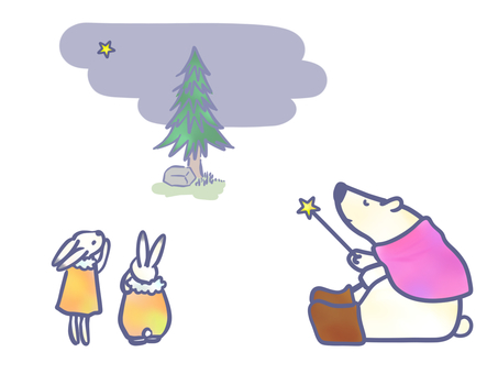 Polar bear and rabbit in front of a fir tree