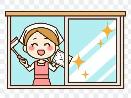 女人清洗窗戶02