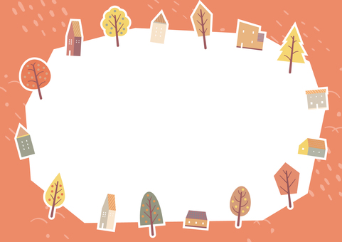 可愛的房子和秋葉的秋天背景 1