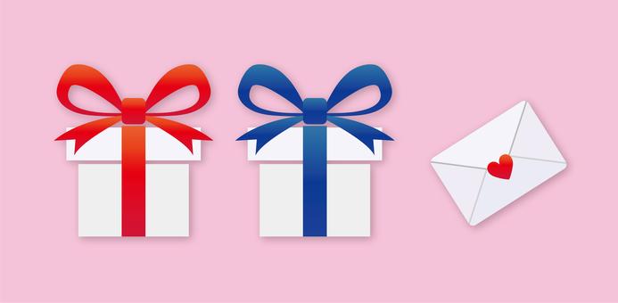 紅藍絲帶禮物和情書
