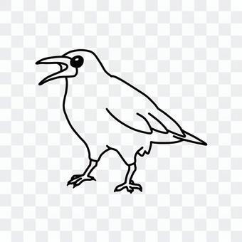 狡猾的烏鴉(線條圖)