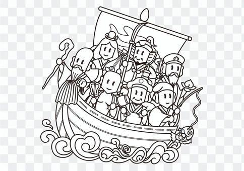 宝船ぬりえ