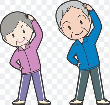 一位老太太和一位老先生來鍛煉