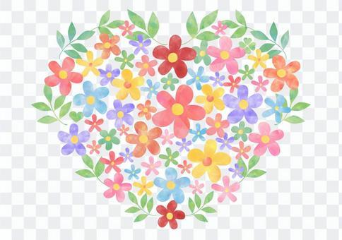花朵和葉子_粉彩_心形1838