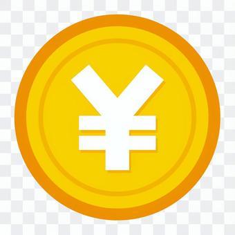 Money yen coin mark icon