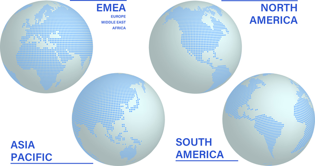 Globe 4 Region 亞洲 北美和南美 歐洲大陸