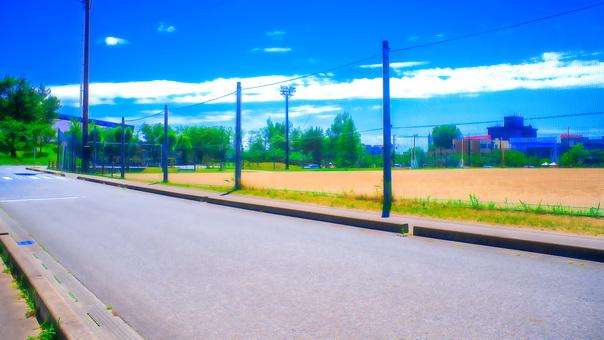 Road and baseball field
