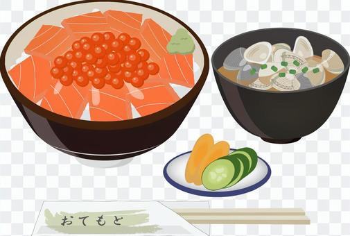 サーモンイクラ丼定食