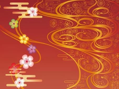 日本模式框架與紅色和金色