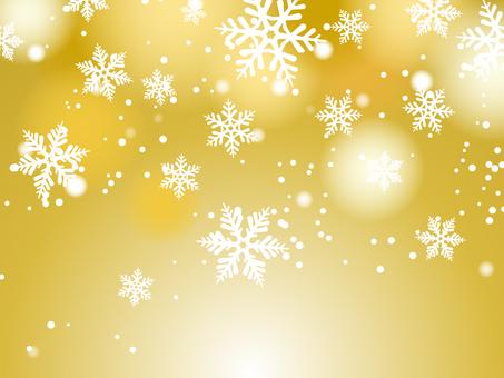 雪和雪花金色背景