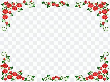 赤いバラのフレーム