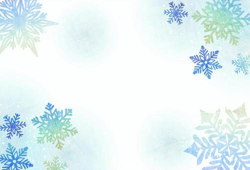 雪の結晶のポストカード青系