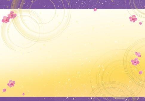 金波紋梅花日式背景紫帶