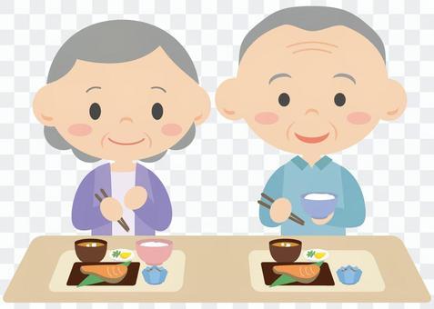 爺爺和奶奶吃