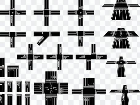 交差点/道路(白黒)