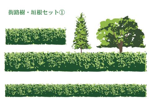 Hedge and roadside tree set