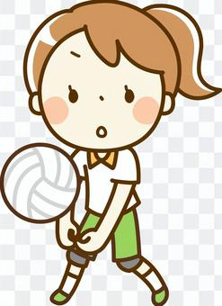 一個打排球的女孩
