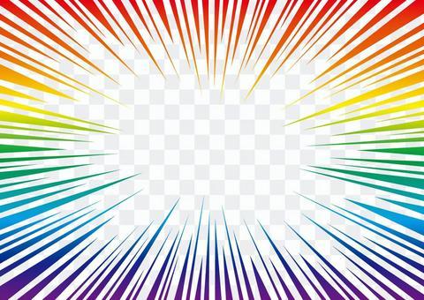 濃縮線·效果線☆漫畫材料☆彩虹