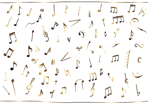 Musical note line drawing illustration set meso piano