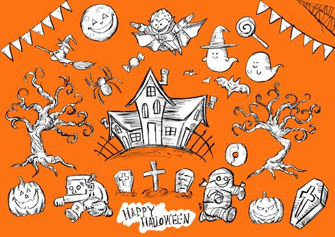 Halloween material set orange