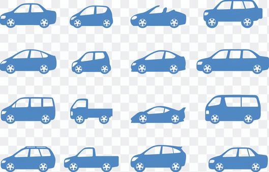 Car body type silhouette set
