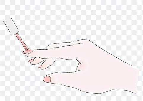 マニキュアを塗る手ピンクイラスト