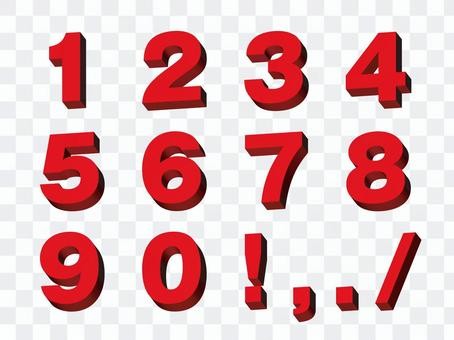 Three-dimensional number red 1