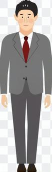 穿著灰色西裝的男性全身微笑和直立