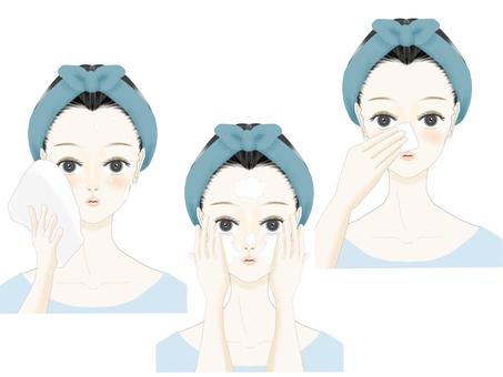 Illustration set of women doing skin care