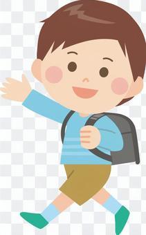 一個男孩走上學校