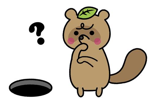 一隻浣熊盯著洞的插圖