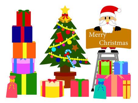 聖誕聖誕老人和聖誕樹和禮物